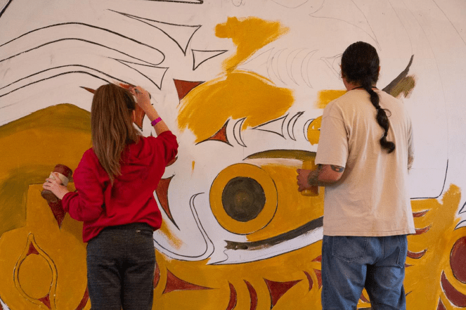 Native Voices Arts Academy mural painting